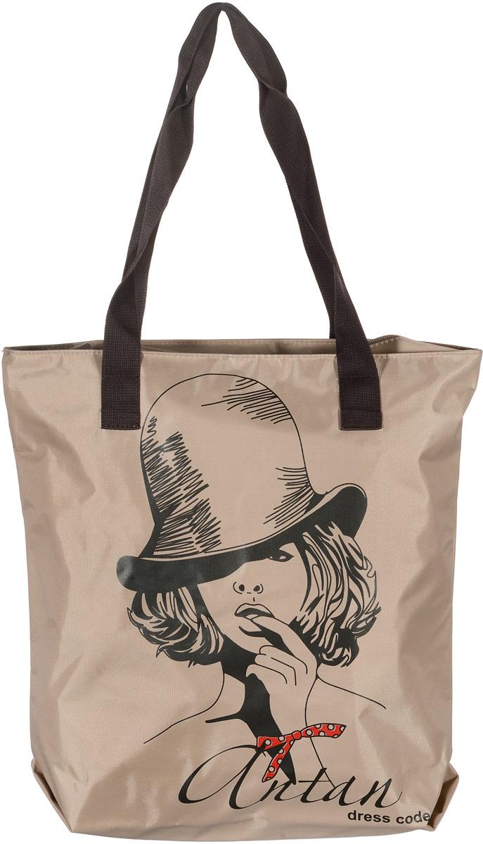 Сумка женская Аntan Все дело в шляпе, цвет: бежевый. 1-581-58Модная женская сумка Аntan Все дело в шляпе, выполненная из текстиля, оформлена на лицевой стороне оригинальным принтом. Изделие имеет одно отделение, которое закрывается на застежку-молнию. Внутри сумки находится нашивной карман на застежке-молнии. Сумка оснащена двумя удобными ручками.