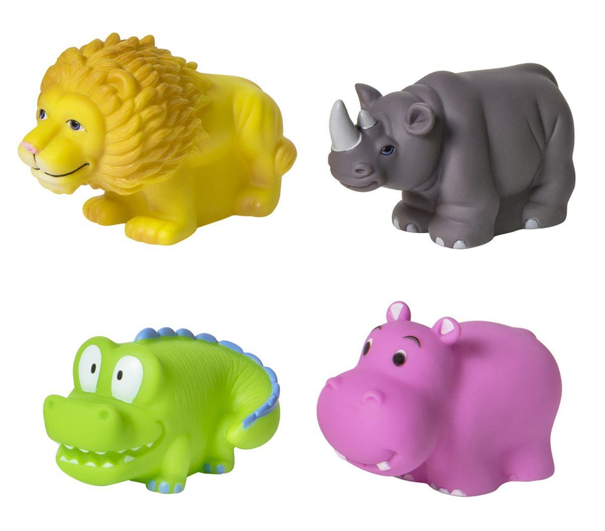 Курносики Набор игрушек для ванной Африка 4 шт25031Набор игрушек-брызгалок «Африка» выполнен из мягкого безопасного материала, способен превратить обычное купание в веселую игру. В наборе четыре игрушки: лев, носорог, крокодил, бегемот. Высота игрушек: 5,5 см. Размер игрушки (в/ш/г): лев: 6*5*9 см. бегемот: 5,5*4*7,5 см. носорог: 5,5*4*8,5 см. крокодил: 5*5,5*8 см.