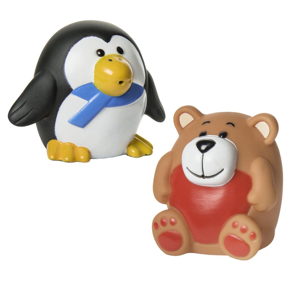 Курносики Набор игрушек для ванной Зоопарк 2 шт25080Набор игрушек-брызгалок «Зоопарк» выполнен из мягкого безопасного материала, способен превратить обычное купание в веселую игру. В наборе две игрушки: пингвин и медвежонок. Высота игрушек: 5,5 см. Размер игрушки (в/ш/г): пингвин: 5,5*7*5,5 см. медведь: 5,5*5*5,5 см.