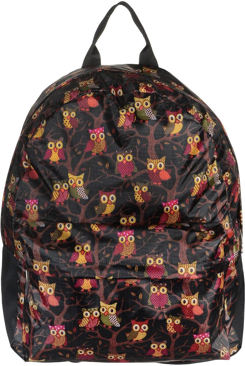 Рюкзак Аntan Совы, цвет: черный, коричневый, желтый. 6-7/16-7/1Модный рюкзак Аntan Совы, выполненный из текстиля, дополнен оформлен принтом с изображением сов. Рюкзак имеет одно основное отделение, которое закрывается на застежку-молнию. Снаружи, на передней стенке находится объемный накладной карман на застежке-молнии. Рюкзак оснащен лямками регулируемой длины и ручкой для переноски в руке.