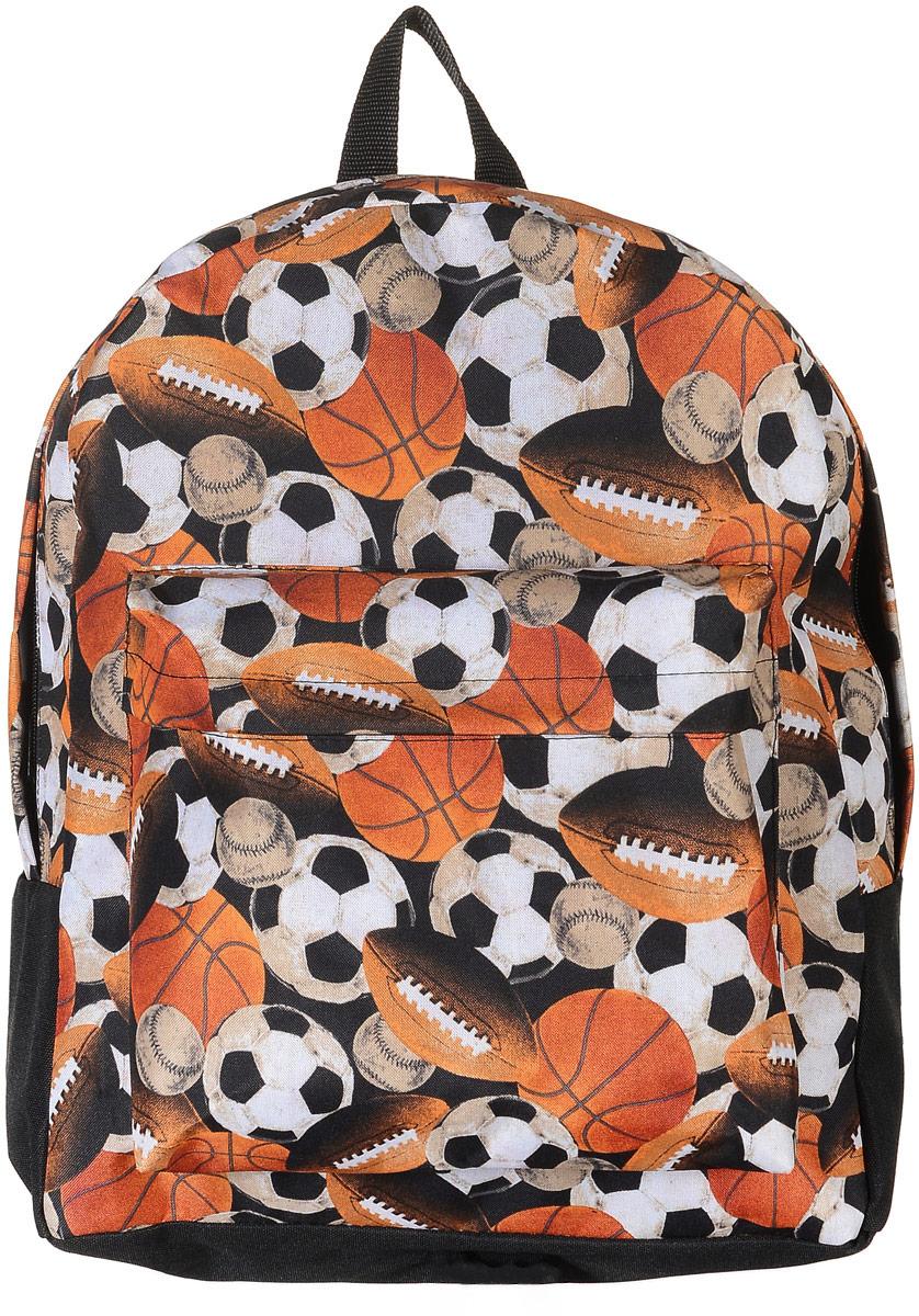 Рюкзак Аntan Мячи, цвет: черный, оранжевый. 6-7/16-7/1Стильный рюкзак Аntan Мячи выполнен из текстиля и оформлен изображением мячей. Рюкзак имеет одно основное отделение, которое закрывается на застежку-молнию. Снаружи, на передней стенке находится накладной объемный карман на застежке-молнии. Рюкзак оснащен широкими лямками регулируемой длины и ручкой для переноски в руке.