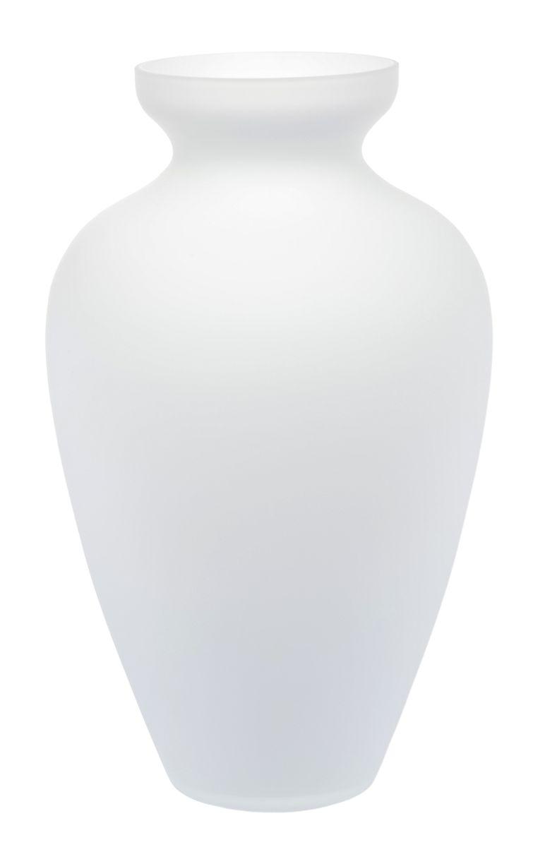 Ваза Nina Glass Амбрэ, матовая, цвет: белыйNG90-025OMПосуду нельзя использовать в СВЧ и мыть в ПММ.