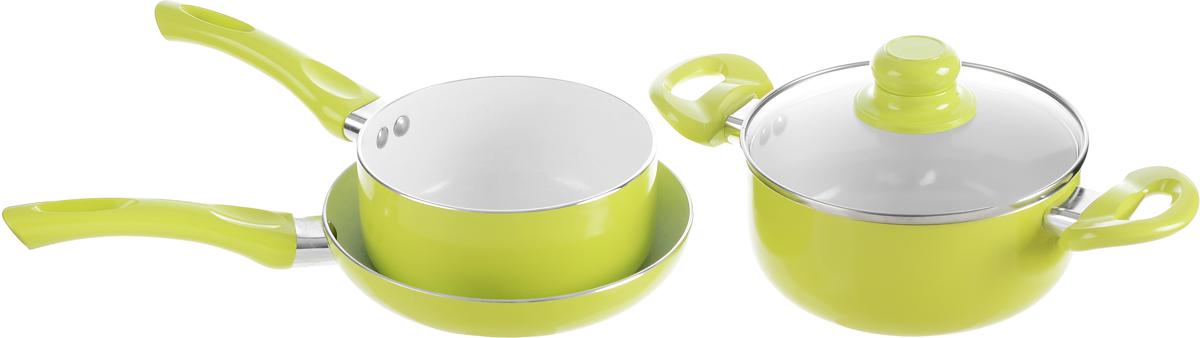 Набор посуды Calve, с керамическим покрытием, цвет: лаймовый, 4 предмета. CL-1924CL-1924Набор посуды Calve включает ковш, сковороду и кастрюлю с крышкой. Набор выполнен из высококачественного алюминия с внутренним керамическим покрытием. Данное покрытие не содержит примеси PFOA, экологично и безопасно для здоровья. Высокая прочность покрытия позволяет ему выдерживать температуру до 450°С, также можно использовать металлические лопатки - покрытие устойчиво к появлению царапин и повреждениям. Внешнее цветное покрытие выдерживает высокие температуры. Посуда снабжена бакелитовыми не нагревающимися ручками удобной формы. Посуда равномерно нагревается и доводит блюда до готовности. Крышка изготовлена из жаропрочного стекла. Посуда подходит для всех типов плит, кроме индукционных. Можно мыть в посудомоечной машине. Диаметр сотейника: 16 см. Объем сотейника: 1,5 л. Высота стенки сотейника: 7,5 см. Длина ручки сотейника: 17 см. Диаметр сковороды: 20 см. Высота стенки сковороды: 4 см. ...