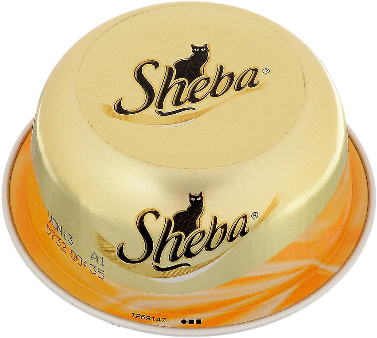 Консервы Sheba для взрослых кошек, с курицей и уткой, 80 г53865Консервы Sheba – мясной деликатес для взрослых кошек из сочного мяса курицы с уткой. Характерные особенности: - Уникальный формат упаковки, - Кошка получает необходимую ей порцию, - Натуральные ингредиенты, - Отсутствие консервантов, - Изысканные рецепт, - Деликатесные ингредиенты. Состав: куриные грудки (минимум 35%), утиные грудки (минимум 4%), крахмал тапиоки. Пищевая ценность (100 г): белки - 12 г, жиры - 0,5 г; зола - 1 г; клетчатка - 0,1 г; влага - 85 г. Энергетическая ценность (100 г): 60 ккал. Товар сертифицирован.