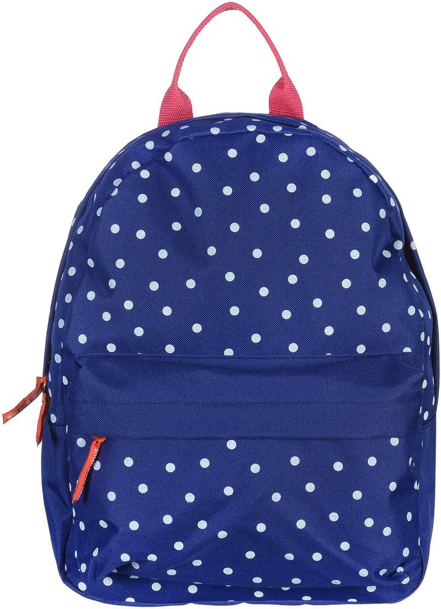 Рюкзак Аntan Горошек, цвет: темно-синий, белый. 6-76-7Яркий рюкзак Аntan выполнен из высококачественного полиэстера и оформлен оригинальным принтом. На лицевой стороне расположен объемный накладной карман на молнии. Рюкзак оснащен удобными лямками, длина которых регулируется с помощью пряжек. Изделие закрывается с помощью застежки-молнии. Внутри расположено главное вместительное отделение, которое содержит отделение для ноутбука.