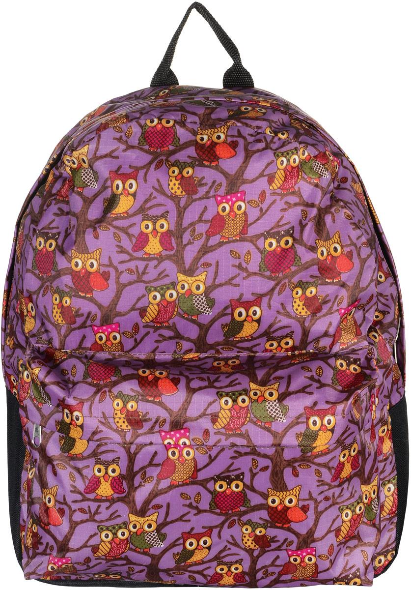 Рюкзак Аntan Совы, цвет: сиреневый, черный. 6-7/16-7/1Модный рюкзак Аntan Совы, выполненный из текстиля, дополнен оформлен принтом с изображением сов. Рюкзак имеет одно основное отделение, которое закрывается на застежку-молнию. Снаружи, на передней стенке находится объемный накладной карман на застежке-молнии. Рюкзак оснащен лямками регулируемой длины и ручкой для переноски в руке.