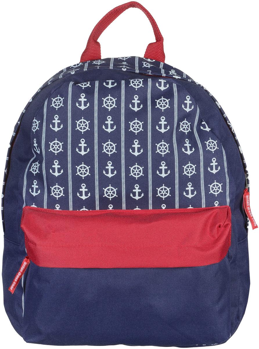 Рюкзак Аntan Морской стиль, цвет: темно-синий, красный, белый. 6-7/26-7Яркий рюкзак Аntan выполнен из высококачественного полиэстера и оформлен оригинальным принтом. На лицевой стороне расположен объемный накладной карман на молнии. Рюкзак оснащен удобными лямками, длина которых регулируется с помощью пряжек. Изделие закрывается с помощью застежки-молнии. Внутри расположено главное вместительное отделение, которое содержит отделение для ноутбука.