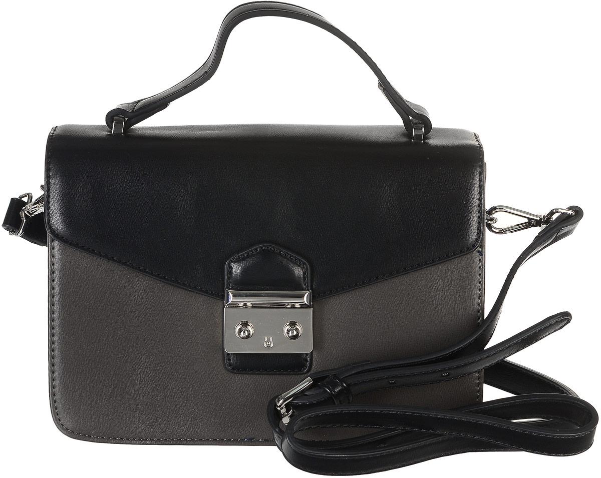 Сумка женская David Jones, цвет: черный, темно-серый. 5235-15235-1 D/GREYСтильная женская сумка торговой марки David Jones выполнена из искусственной кожи. Модель закрывается клапаном на застежку-защелку. Сумка содержит нашивной карман и врезной карман на застежке-молнии. Изделие оснащено удобной ручкой и съемным плечевым ремнем, регулируемой длины. Прилагается фирменный текстильный чехол для хранения. Оригинальный аксессуар позволит вам завершить образ и быть неотразимой.