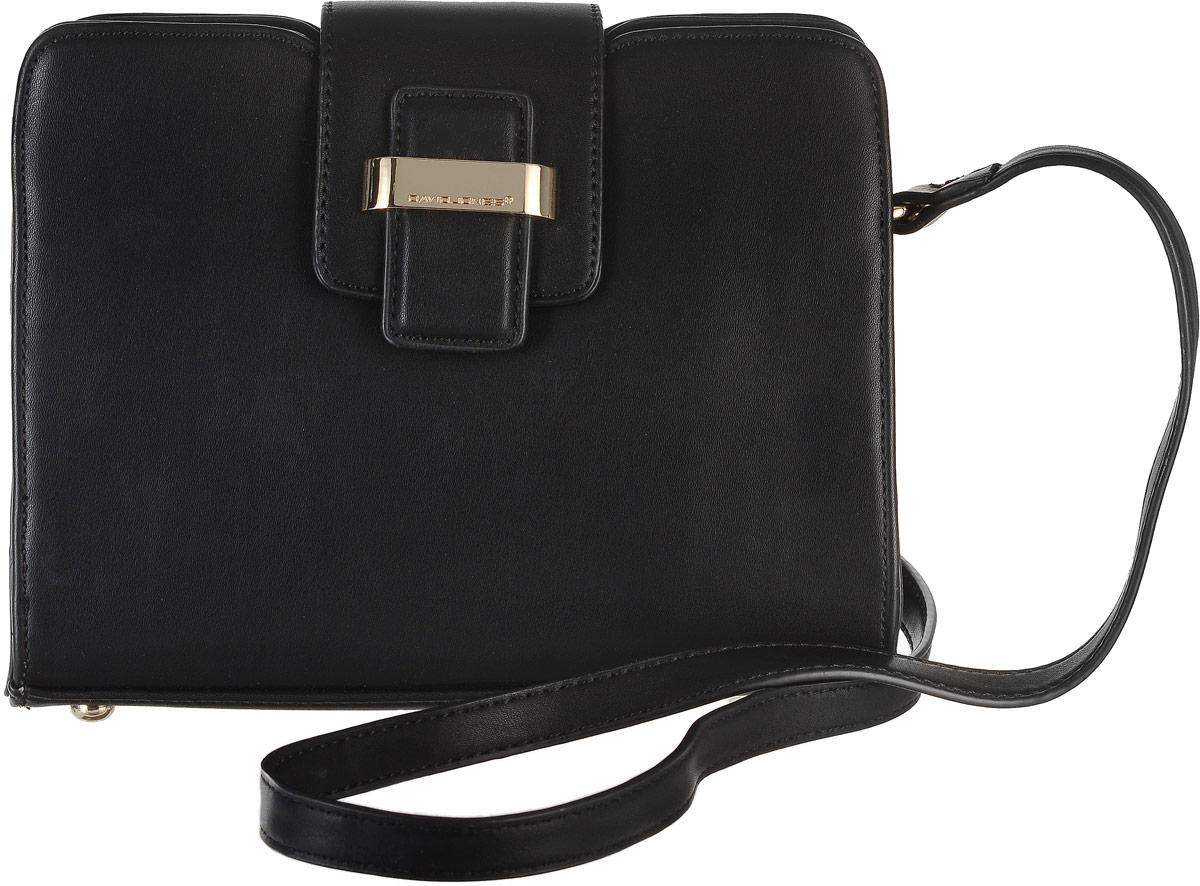 Сумка женская David Jones, цвет: черный. 5203-25203-2 BLACKСтильная сумка David Jones, выполнена из экокожи и оснащена изящным плечевым ремешком, который регулируется по длине. Сумка закрывается клапаном на удобную застежку-магнит, внутри имеет одно вместительное отделение с одним вшитым карманом на застежке-молнии. На тыльной стороне изделия имеется карман на застежке-молнии. Сумка David Jones - это выбор молодой, уверенной, стильной женщины, которая ценит качество и комфорт. Изделие станет изысканным дополнением к вашему образу.