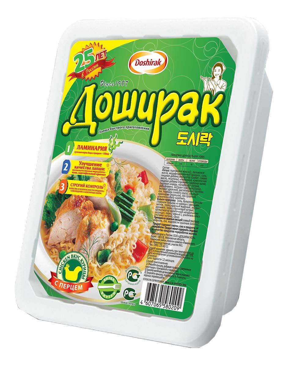 Doshirak лапша быстрого приготовления со вкусом курицы с перцем, 90 г4607065580209Лапша быстрого приготовления, залить кипятком