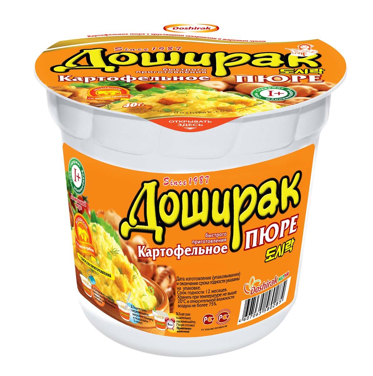 Doshirak пюре картофельное быстрого приготовления со вкусом грибов в стакане, 40 г4607065580285картофельное Пюре быстрого приготовления, залить кипятком