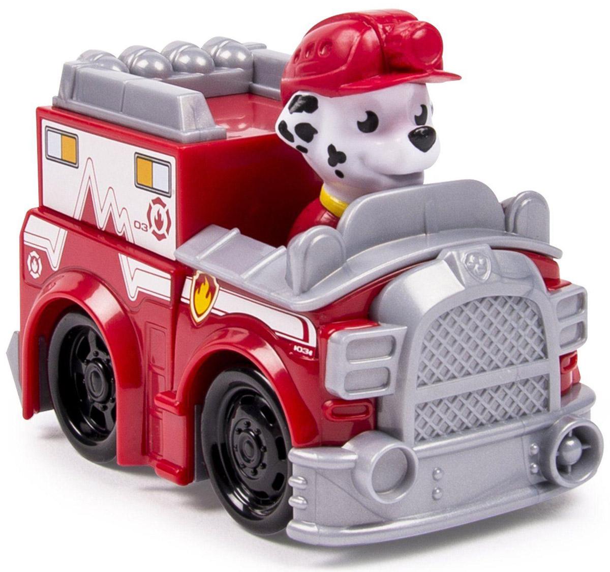 Paw Patrol Машинка спасателя Marshall16605_20068622Машинка спасателя Маршалла из Paw Patrol непременно порадует малыша. Пожарная машинка с героем популярного мультфильма выполнена из высококачественной пластмассы. Колеса машинки свободно вращаются, фигурка Маршалла несъемная. Игрушка помогает развивать мелкую моторику, цветовосприятие и воображение.