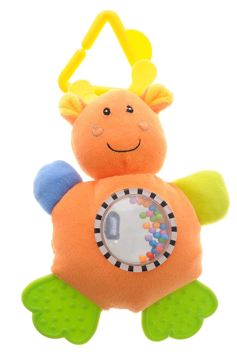 Mara Baby Игрушка-подвеска Жаркие страны ЖирафB-9030_оранжевыйИгрушка-подвеска Mara Baby Жаркие страны. Жираф выполнена из безопасных для ребенка материалов в виде симпатичного животного. Ножки игрушки представлены в виде двух прорезывателей для зубов, а ручки содержат шуршащий элемент. В животике игрушки находятся маленькие разноцветные шарики, которые весело гремят при встряхивании. С помощью пластикового незамкнутого треугольника игрушку можно подвесить к кроватке, коляске, автокреслу или игровой дуге малыша. Игрушка-подвеска поможет ребенку в развитии цветового и звукового восприятия, концентрации внимания, мелкой моторики рук, координации движений и тактильных ощущений.