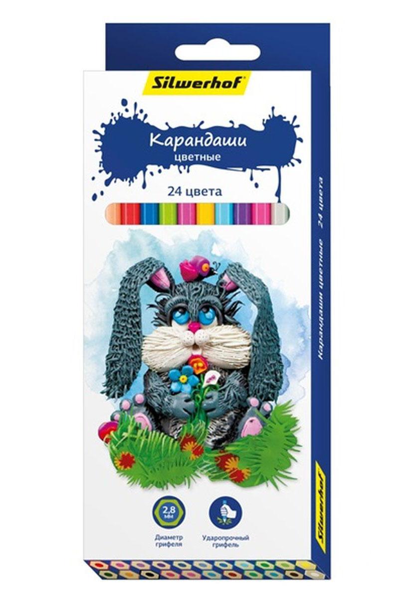 Silwerhof Карандаши цветные Пластилиновая коллекция 24 цвета134195-24Карандаши Silwerhof Пластилиновая коллекция станут хорошим подарком для маленьких начинающих художников. Шестигранный корпус изготовлен из натурального дерева. Благодаря специальной обработке, многослойной прокраске и лакировке, карандаши легко затачиваются, и их приятно держать в руках. Карандаши поставляются заточенными. В наборе 24 карандаша.