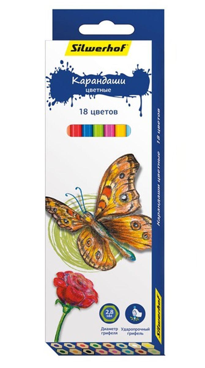 Silwerhof Карандаши цветные Бабочки 18 цветов134196-18Шестигранный корпус из натурального дерева. Многослойная прокраска корпуса. Диаметр грифеля 2,8 мм. Поставляются заточенными.Яркие насыщенные цвета.Мягкое письмо.Карандаши легко затачиваются. Упаковка: картонная коробка с европодвесом.
