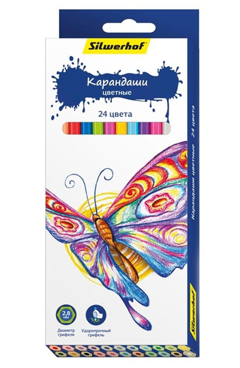 Silwerhof Карандаши цветные Бабочки 24 цвета134196-24Цветные карандаши Silwerhof Бабочки с шестигранным корпусом изготовлены из натурального дерева. Такой набор поможет отлично развить мелкую моторику рук, цветовое восприятие, фантазию и воображение. Диаметр грифеля 2,8 мм. Карандаши поставляются заточенными. В наборе 24 карандаша ярких, насыщенных цветов.