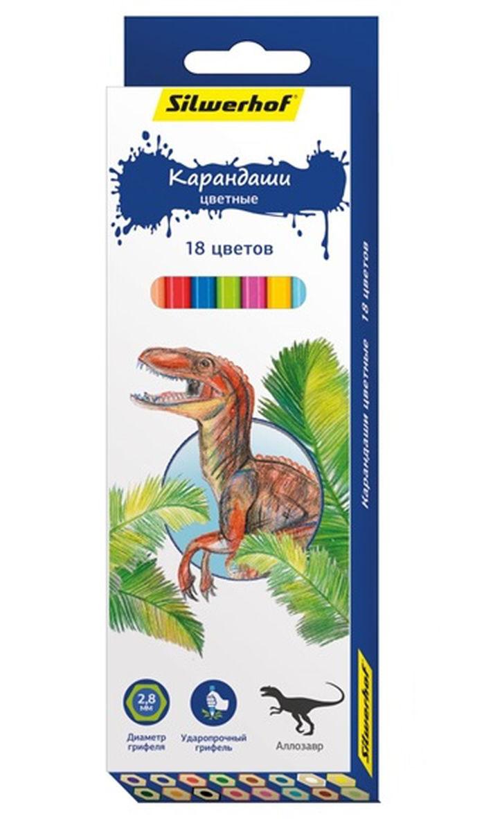 Silwerhof Карандаши цветные Динозавры 18 цветов134197-18Карандаши Silwerhof Динозавры станут хорошим подарком для маленьких начинающих художников. Шестигранный корпус изготовлен из натурального дерева. Благодаря специальной обработке, многослойной прокраске и лакировке, карандаши легко затачиваются, и их приятно держать в руках. В наборе 18 карандашей ярких, насыщенных цветов.