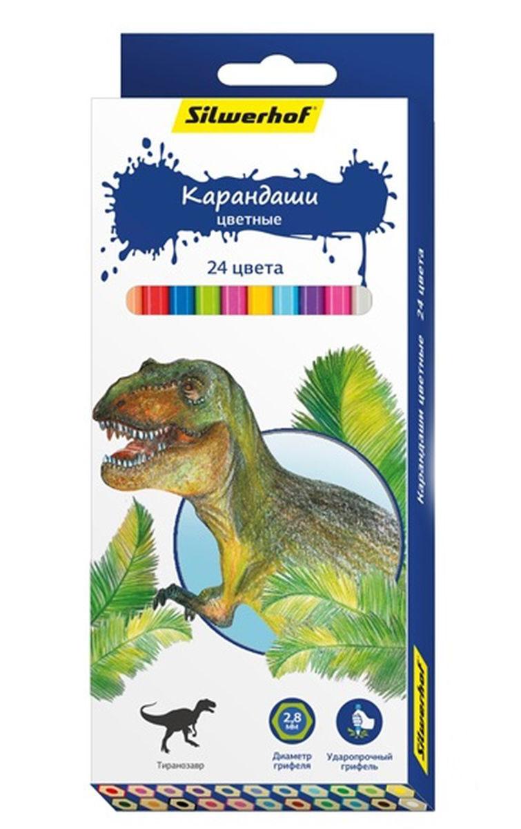 Silwerhof Карандаши цветные Динозавры 24 цвета134197-24Карандаши Silwerhof Динозавры станут хорошим подарком для маленьких начинающих художников. Шестигранный корпус изготовлен из натурального дерева. Благодаря специальной обработке, многослойной прокраске и лакировке, карандаши легко затачиваются, и их приятно держать в руках. В наборе 24 карандаша.