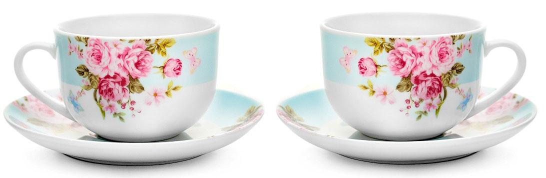 Чайный набор Walmer Mirabella, цвет: голубой, 4 предметаW19770222Чайный набор Mirabella состоит из 2 чашек и 2 блюдец, изготовленных из высококачественного фарфора. Оригинальный яркий дизайн, несомненно, придется вам по вкусу. Набор украсит ваш кухонный стол, а также станет замечательным подарком к любому празднику. Объем чашки: 220 мл.
