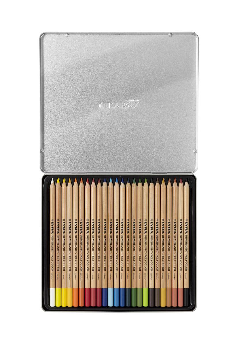 Lyra Художественные цветные карандаши Rembrandt Polycolor 24 цветовL2001240Набор цветных художественных карандашей Lyra REMBRANDT POLYCOLOR 24 цвета, в металлической коробке