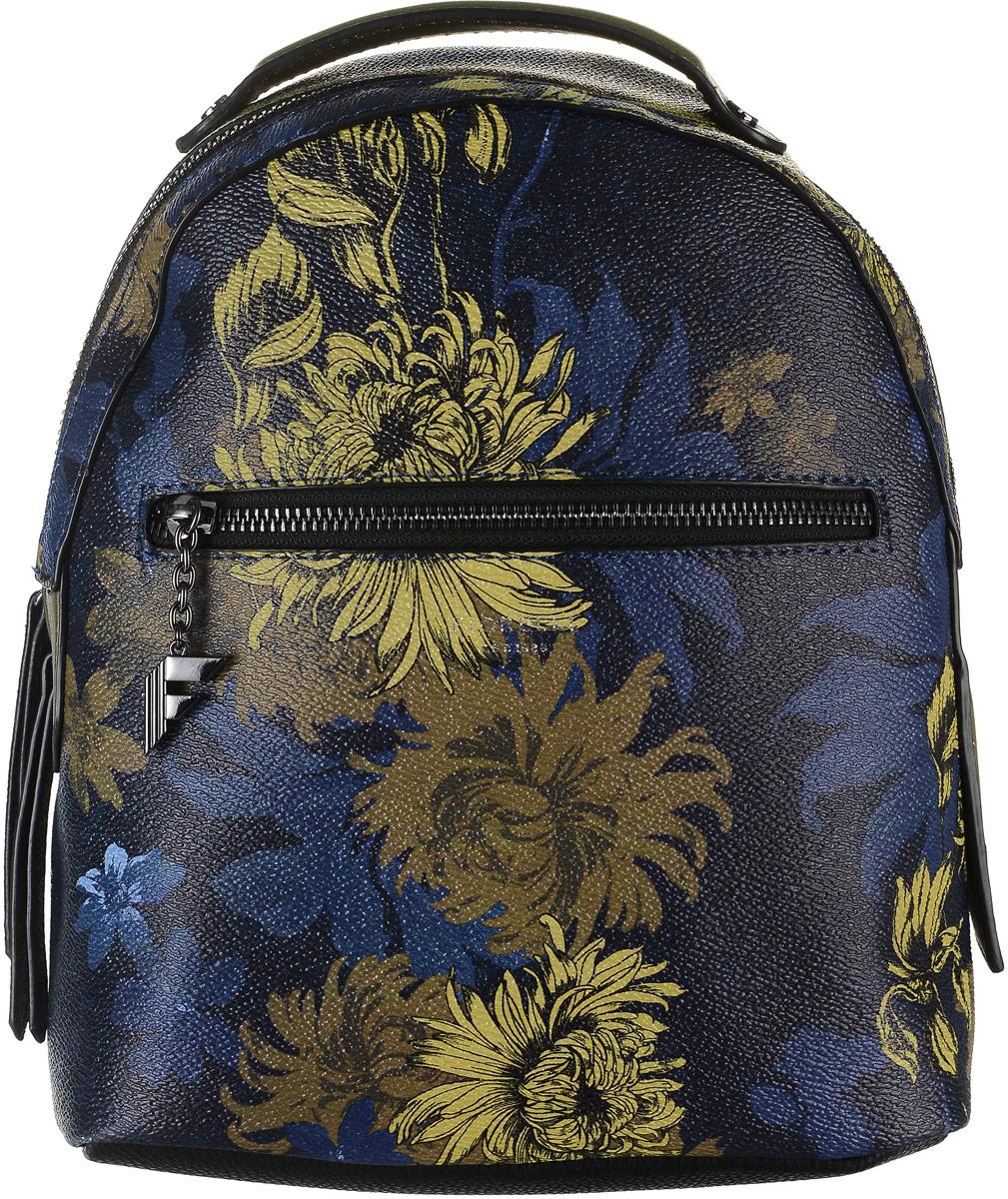 Рюкзак женский Fiorelli, цвет: синий. 8516 FH8516 FH Navy FloralСтильный рюкзак Fiorelli выполнен из экокожи с зернистой фактурой и ярким цветочным принтом, оснащен двумя плечевыми регулируемыми ремнями на спинке и удобной ручкой для переноски. Рюкзак закрывается на молнию, внутри имеет одно вместительное отделение, четыре накладных кармана и один вшитый карман на застежке-молнии. На внешней стороне спереди имеется прорезной карман для мелочей на молнии и вертикальный карман на застежке-молнии с тыльной стороны изделия. Рюкзак Fiorelli - это выбор молодой, уверенной, стильной женщины, которая ценит качество и комфорт. Изделие станет изысканным дополнением к вашему образу.