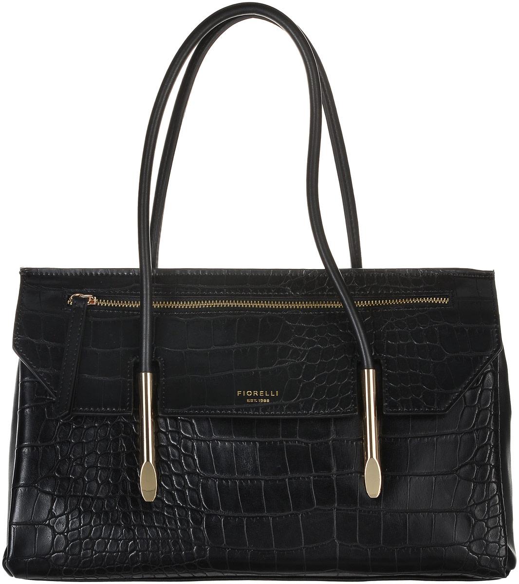 Сумка женская Fiorelli, цвет: черный. 8503 FH8503 FH BlackСтильная женская сумка Fiorelli выполнена из искусственной кожи с тиснением под рептилию и декорирована золотистой фурнитурой. Закрывается клапаном на магнитную застежку, клапан оформлен декоративным карманом на молнии. Сумка имеет вместительное основное отделение, которое разделено текстильной перегородкой, содержащей скрытый карман на молнии. Внутри имеется прорезной карман на застежке-молнии и четыре открытых пришивных кармана для телефона и мелочей. Снаружи на задней стенке располагается накладной карман. Сумка оснащена небольшими металлическими ножками, которые будут предохранять ее дно от преждевременного износа, трения о твердые поверхности, а также от загрязнения. Роскошная сумка внесет элегантные нотки в ваш образ и подчеркнет ваше отменное чувство стиля. Дизайн продукции Fiorelli разрабатывается в Лондоне молодой, амбициозной командой, идущей в ногу со временем и предлагающей модели, которые предназначены для любых случаев, как для выхода в...