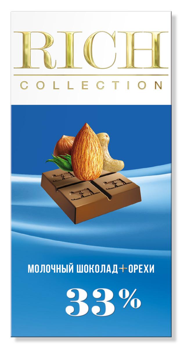 Rich Шоколад молочный с орехами, 70 г14.2786Шоколад Rich Collection «Молочный с орехами» приготовлен на основе альпийского молока и смеси лесных орехов.