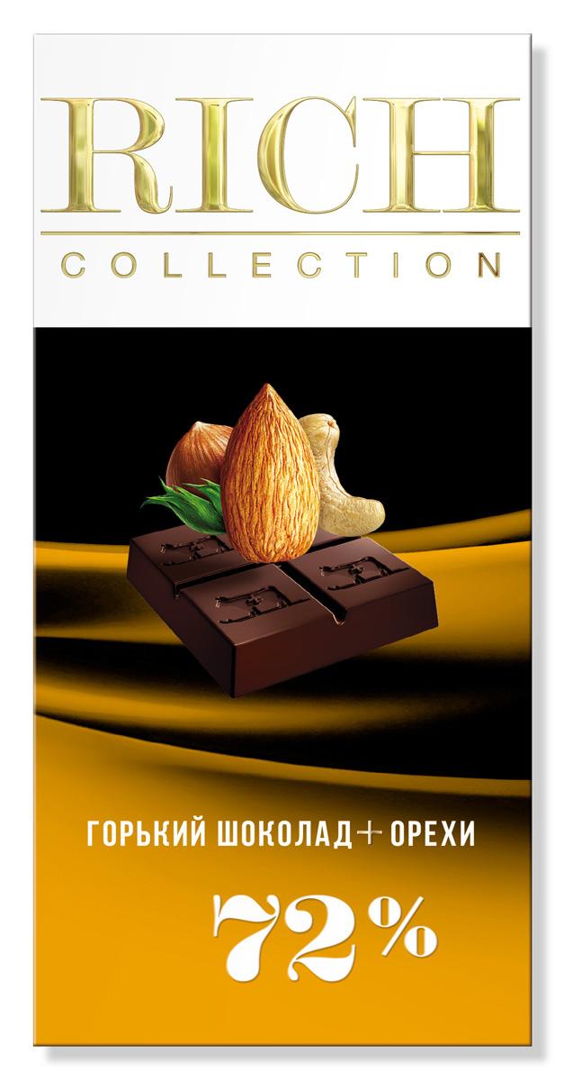 Rich Шоколад горький с орехами, 70 г14.2663Шоколад Rich Collection «Горький с орехами» приготовлен из отборных какао-бобов сорта criollo, с добавлением смеси лесных орехов.
