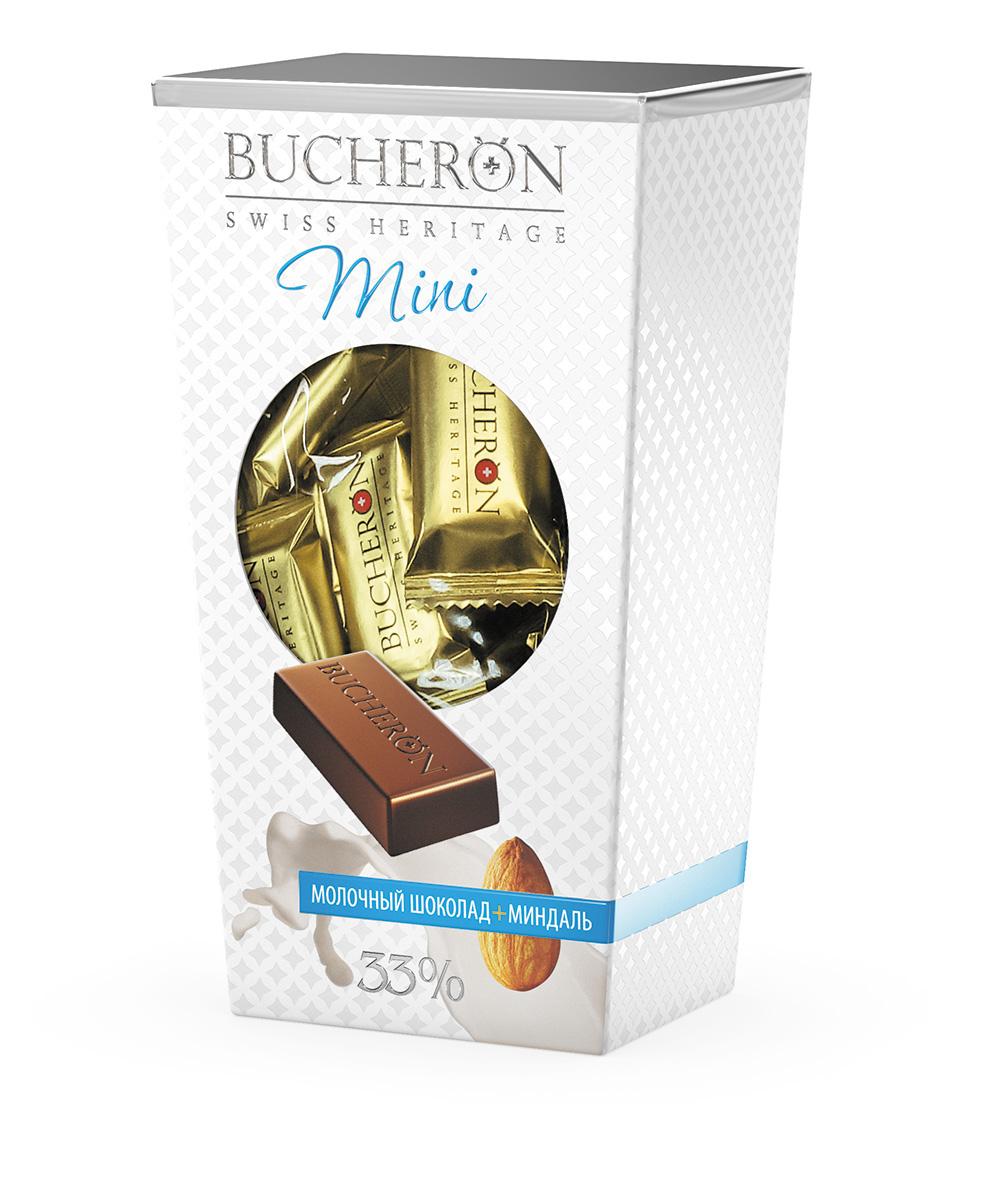 Bucheron Mini Шоколад молочный с миндалем, 171 г14.4032BUCHERON MINI создан по традиционной швейцарской рецептуре из какао-бобов, выросших на Берегу Слоновой Кости. BUCHERON MINI - живите со вкусом