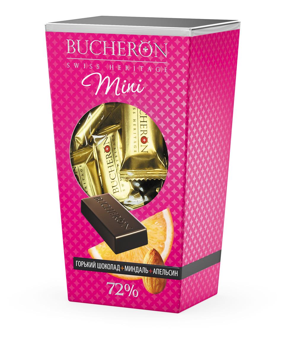 Bucheron Mini Шоколад горький с миндалем и апельсином, 171 г14.3899BUCHERON MINI создан по традиционной швейцарской рецептуре из какао-бобов, выросших на Берегу Слоновой Кости. BUCHERON MINI — живите со вкусом.