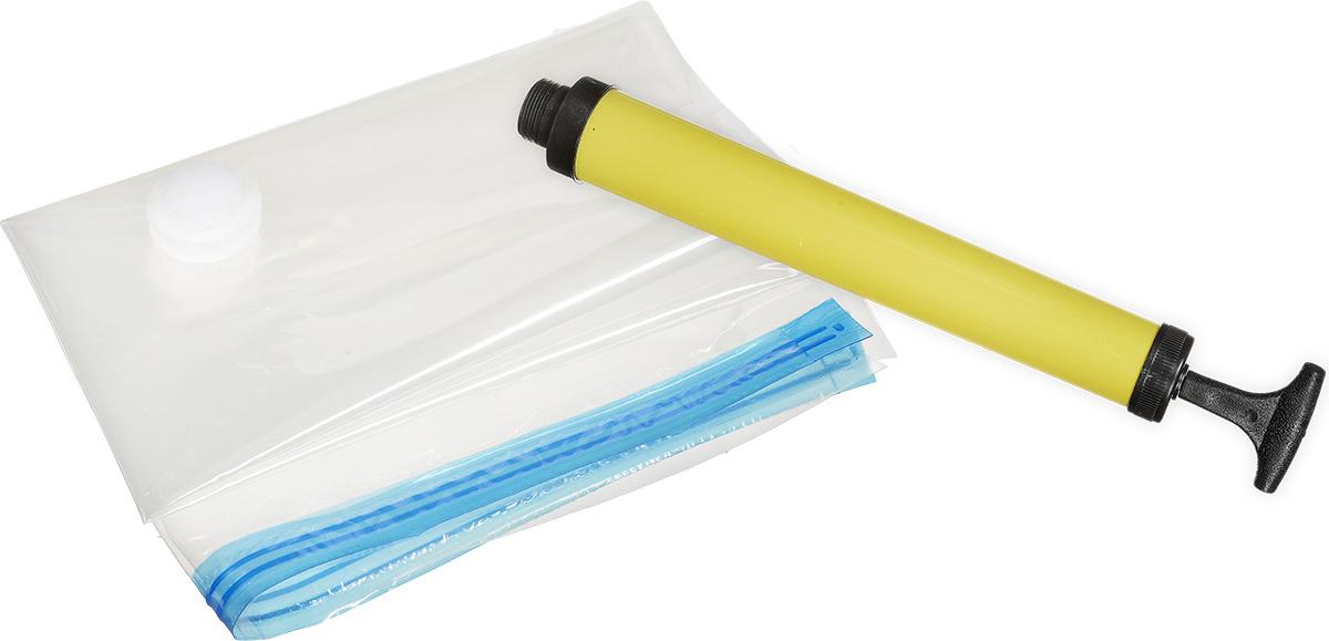 Набор вакуумных пакетов Bradex Спэйс Мастер для хранения вещей, с насосомTD 0201Набор Спэйс Мастер предназначен для рационального и безопасного хранения текстильных вещей. За счет удаления воздуха из волокон ткани, любая текстильная вещь (одежда, одеяла и пледы, подушки, пуховики, полотенца и т.д.), помещенная в вакуумный пакет, сокращается в объемах и размерах до 70% без повреждения ее качества. Благодаря тому, что вещь хранится в вакууме, она не сминается, не портится и остается защищенной от негативного воздействия окружающих факторов (пыль, грязь, насекомые, плесень, неприятные запахи и пр.). После извлечения из пакета вещь принимает первоначальный вид и объем. Набор состоит из 11 пакетов и идеален для хранения свитеров, пальто, курток, пуховиков, рубашек, подушек, одеял, полотенец и других вещей. Каждый пакет имеет герметичную и водонепроницаемую конструкцию, сделан из прозрачного материала для быстрого определения содержимого. Хранение вещей в вакуумных пакетах Спэйс Мастер увеличит свободное пространство в шкафу, в чемодане, на полках...