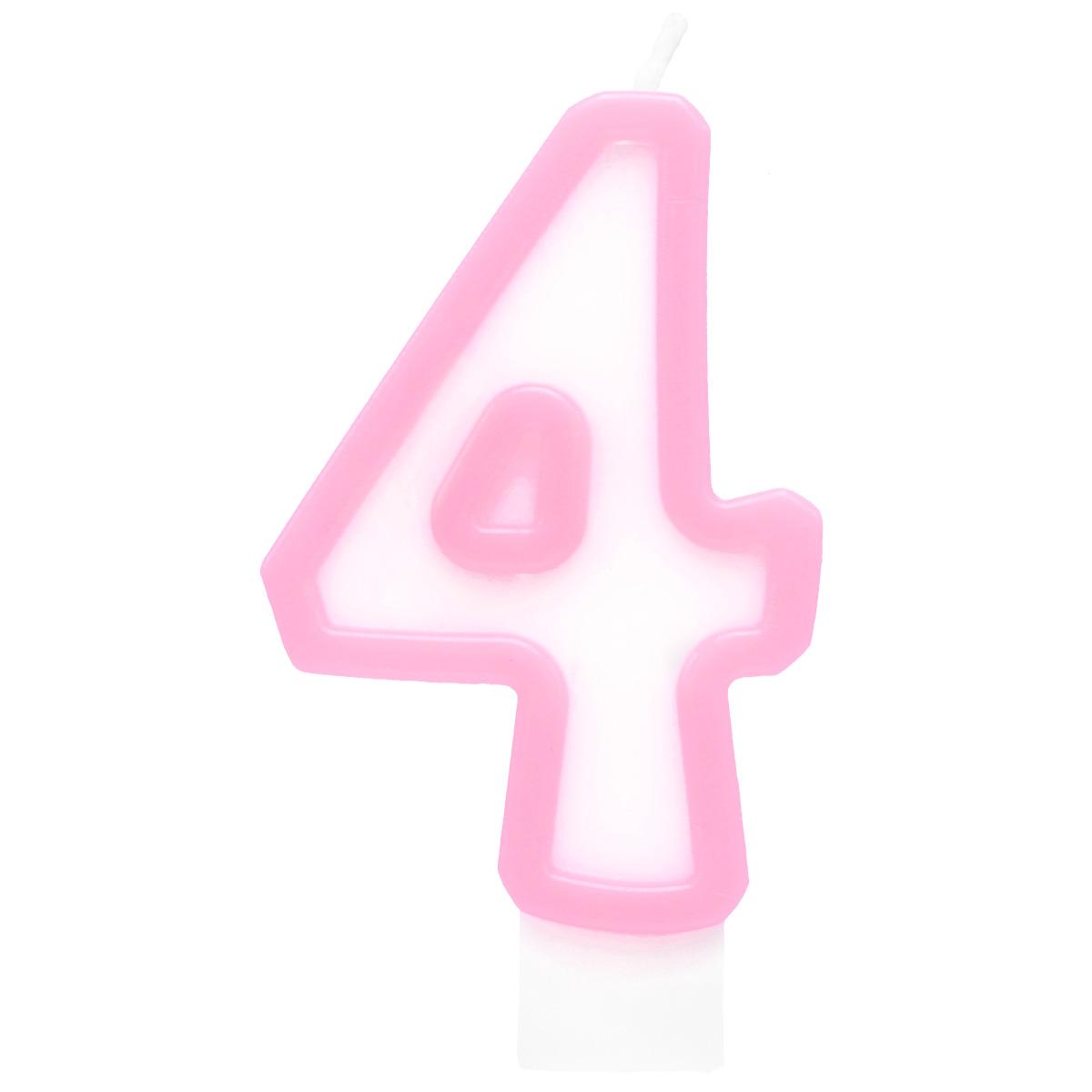 Action! Свеча-цифра для торта 4 летAPI0318-4Свеча-Цифра 4 для торта , разноцветная, 7см, материал: парафин
