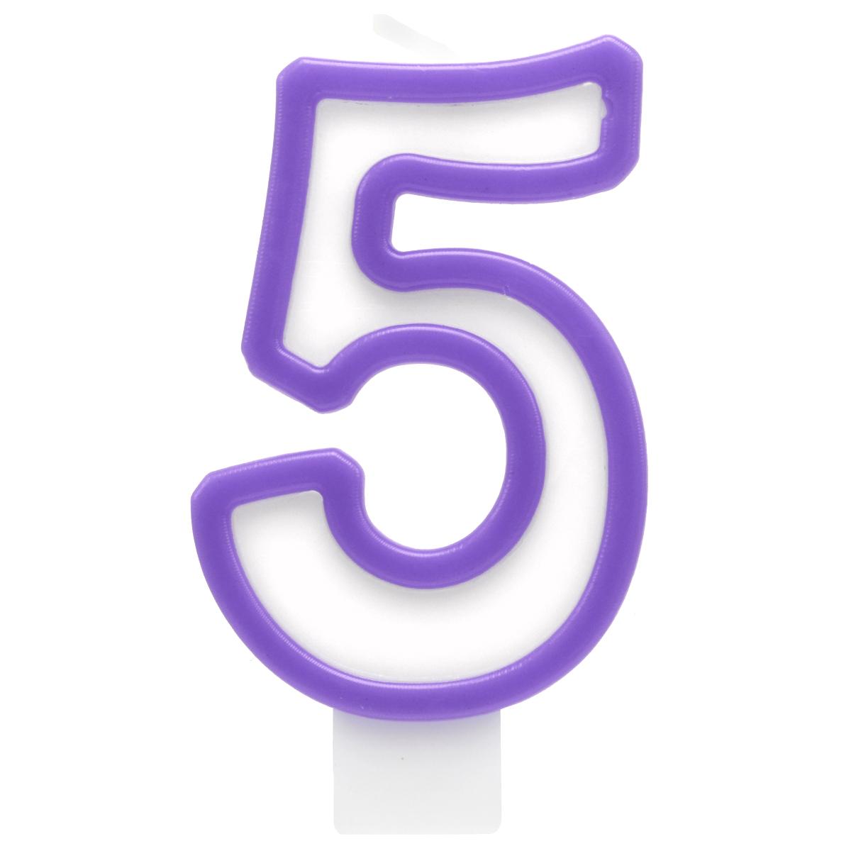 Action! Свеча-цифра для торта 5 летAPI0318-5Свеча-Цифра 5 для торта , разноцветная, 7см, материал: парафин
