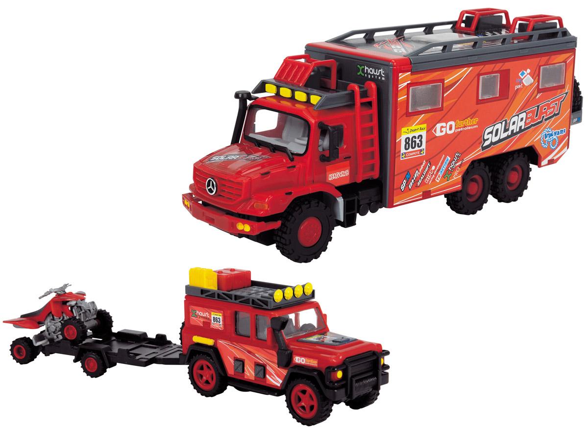 Dickie Toys Набор машинок Исследовательские автомобили цвет красный 3 шт3314552_красныйНабор машинок Исследовательские автомобили - это увлекательный набор, который непременно понравится вашему ребенку. Набор автомобилей представлен в масштабе 1/43. В комплект входит специальный грузовик с функциональной, открывающейся крышей, капотом и дверками. Кроме этого, в грузовике находится небольшая комната, предназначенная для подготовки и отдыха гонщиков. Также в наборе имеются мощный внедорожник с прицепом для гоночной модели квадроцикла. Грузовик и джип оборудованы фрикционным механизмом. Ваш ребенок с удовольствием будет играть с набором, придумывая различные истории.