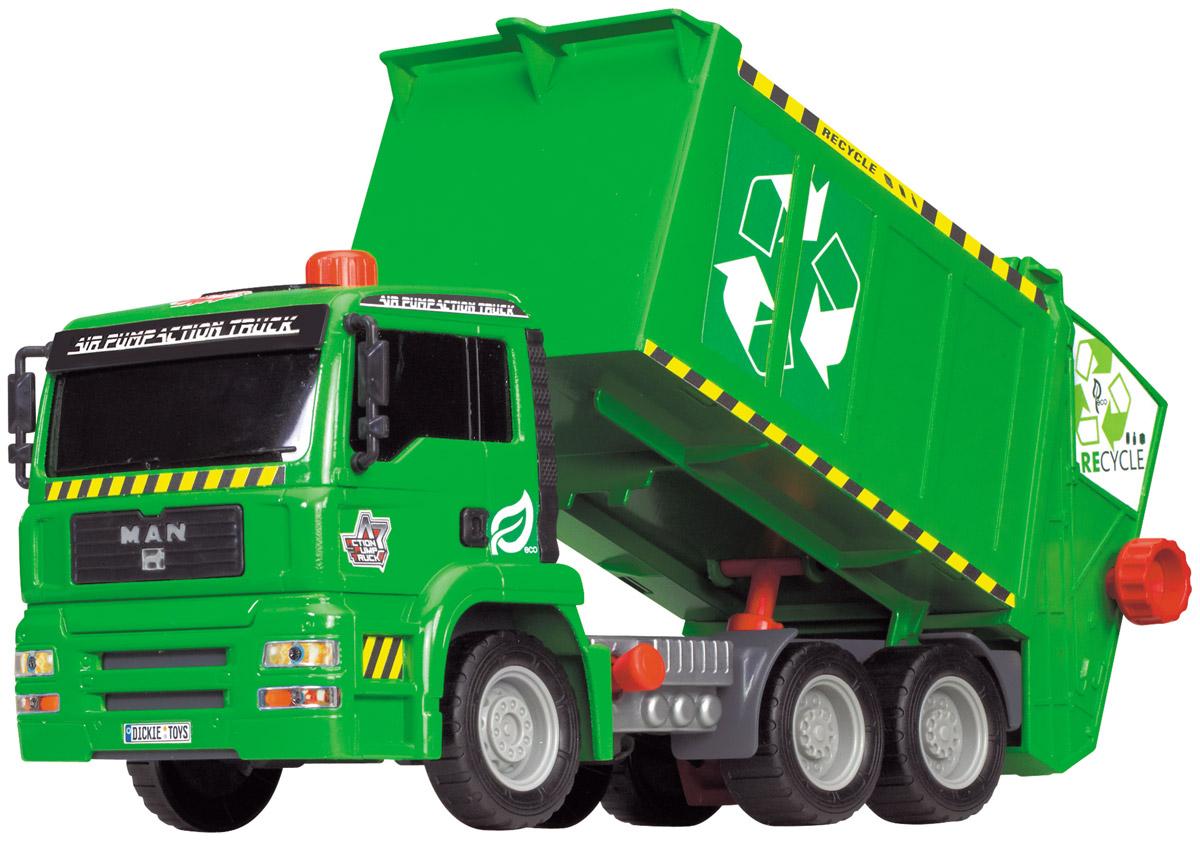 Dickie Toys Мусоровоз MAN с контейнером3805000Мусоровоз Dickie Toys MAN с подъемным механизмом кузова непременно понравится вашему ребенку. Игрушка выполнена из прочного пластика в виде мощного мусоровоза. Контейнер мусоровоза может подниматься и опускаться с помощью помпового насоса. Для подъема контейнера используется кнопка на крыше кабины. Для опускания контейнера служит рычажок, расположенный в основании кузова. К машине также прилагается мусорный контейнер, который прочно фиксируется к подъемнику и может опрокидываться в контейнер с помощью колесика. С этой игрушкой ваш малыш будет часами занят игрой. Порадуйте его таким замечательным подарком!