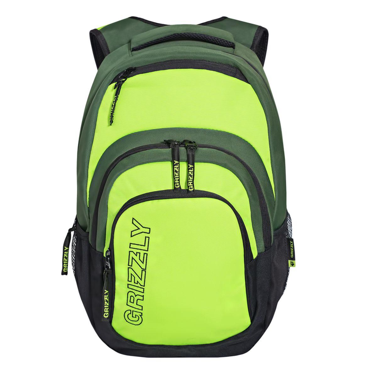 Рюкзак молодежный Grizzly, цвет: черный-салатовый. 32 л. RU-704-1/2RU-704-1/2Рюкзак молодежный, одно отделение, карман на молнии на передней стенке, объемный карман на молнии на передней стенке, боковые карманы из сетки, внутренний составной пенал-органайзер, внутренний укрепленный карман для ноутбука, укрепленная спинка, карман быстрого доступа в верхней части рюкзака, мягкая укрепленная ручка, нагрудная стяжка-фиксатор, укрепленные лямки