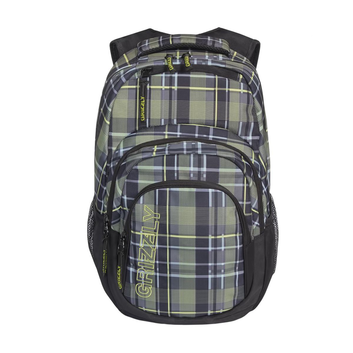 Рюкзак молодежный Grizzly, цвет: черный-оливковый. 32 л. RU-704-2/2RU-704-2/2Рюкзак молодежный, одно отделение, карман на молнии на передней стенке, объемный карман на молнии на передней стенке, боковые карманы из сетки, внутренний составной пенал-органайзер, внутренний укрепленный карман для ноутбука, укрепленная спинка, карман быстрого доступа в верхней части рюкзака, мягкая укрепленная ручка, нагрудная стяжка-фиксатор, укрепленные лямки