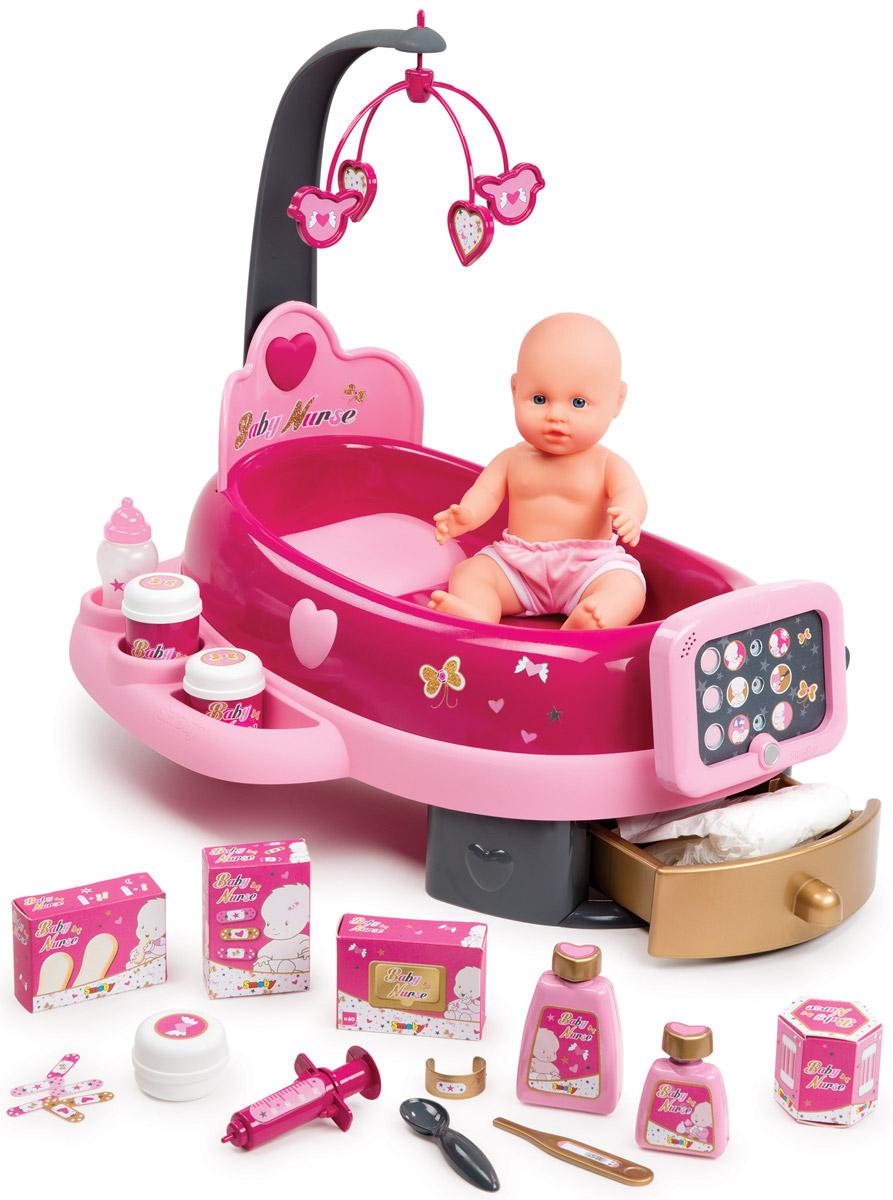 Smoby Игровой набор с куклой Электронная детская220317Игровой набор с куклой Smoby Электронная детская обрадует любую девочку своей функциональностью и предоставленной возможностью ухаживать за пупсом, как за настоящим ребенком. Девочка сможет при помощи специальной электронной панели контролировать состояние игрушечного ребенка и, в зависимости от этого, выполнять нужные игровые действия. Надо только положить игрушечного пупса в кроватку. Помимо игрушки и кроватки, к набору прилагаются интересные аксессуары для ухода за пупсом. Девочка ощутит себя в роли самой настоящей любящей мамы, которая внимательно и бережно относится к своему ребенку. Играя в сюжетно-ролевые игры с использованием этого набора, ребенок приучится быть внимательным и заботливым, станет аккуратным и разовьет в себе представление о семейных ценностях. Набор выполнен из высококачественных и безопасных для ребенка материалов. Также он оснащен световыми и звуковыми эффектами, которые сделают игру еще интересней и увлекательней. Необходимо купить 2...