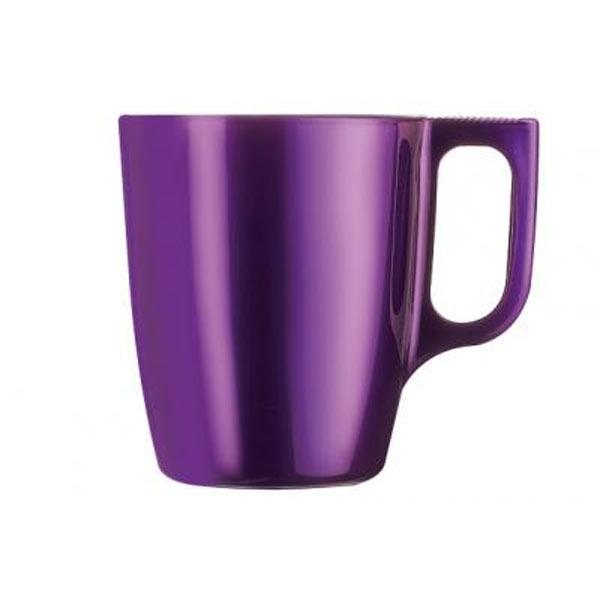 Кружка Luminarc Flashy Colors, цвет: фиолетовый, 250 млJ1119Кружка Luminarc Flashy Colors, изготовленная из ударопрочного стекла, оснащена эргономичной ручкой. Кружка прекрасно дополнит интерьер любой кухни. Яркий дизайн изделия придется по вкусу и ценителям классики, и тем, кто предпочитает утонченность и изысканность. Подходит для использования в микроволновой печи и можно мыть в посудомоечной машине. Диаметр кружки (по верхнему краю): 7,5 см. Высота кружки: 9,2 см. Объем кружки: 250 мл.