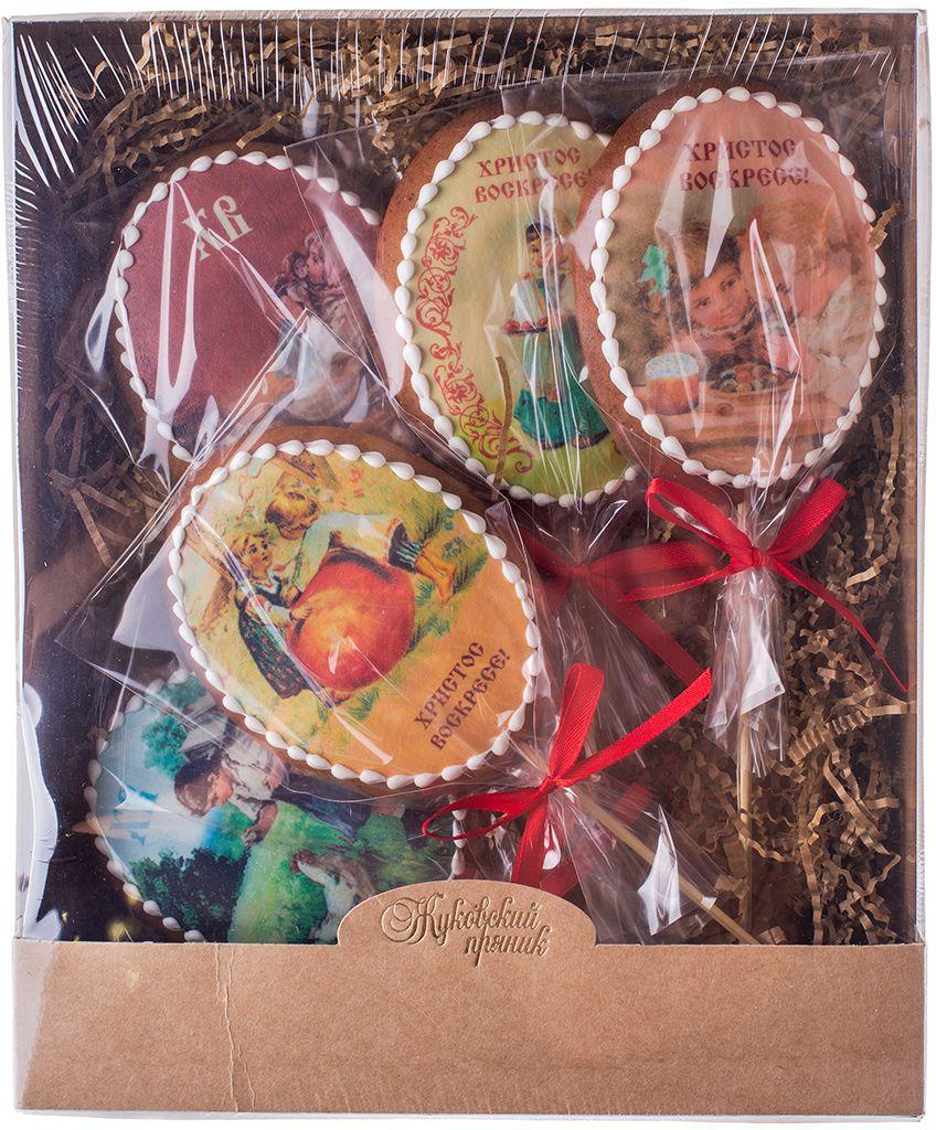 Жуковский пряник Подарочный набор Пасха, 5 шт00-00001126Медово-имбирные пряники с росписью из айсинга, фотопечатью на сахарной бумаге.