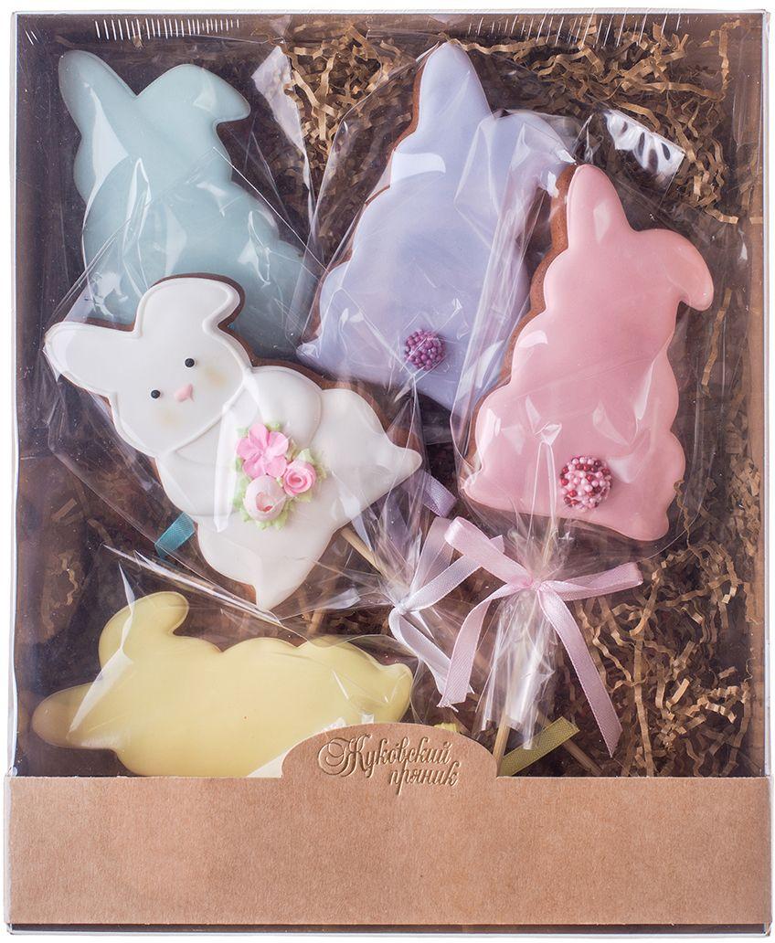 Жуковский пряник Подарочный набор Веселые хвостики, 5 шт00-00001130Медово-имбирные пряники с росписью из айсинга, фотопечатью на сахарной бумаге. Отлично подходит для детей от 3-х лет