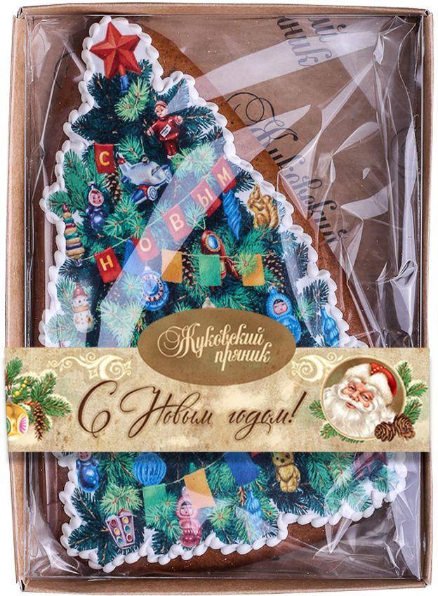 Жуковский пряник Новогодняя елка00-00001314Медово-имбирный пряник с росписью из айсинга, фотопечатью на сахарной бумаге. Отличный подарок на Новый год