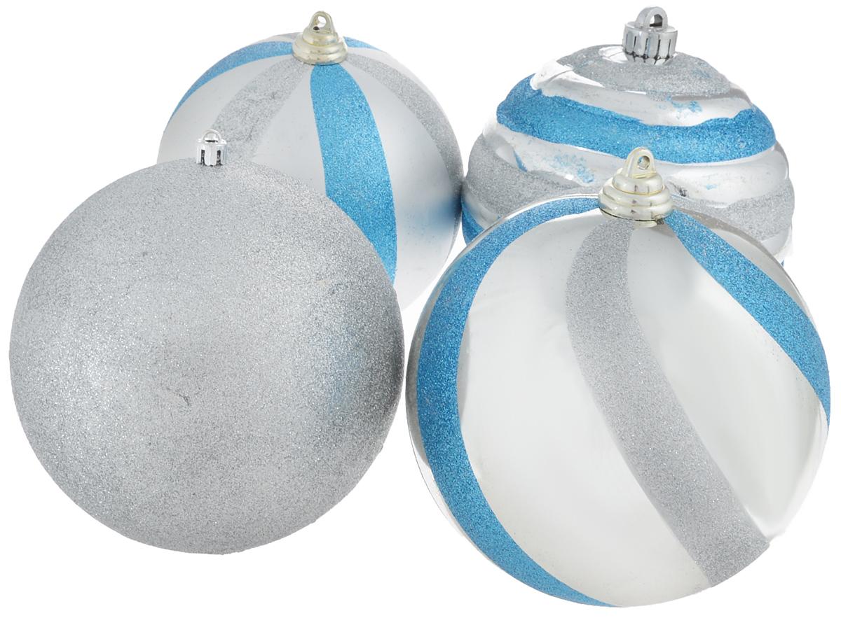 Набор новогодних подвесных украшений Winter Wings Шар, цвет: серебристый, голубой, диаметр 15 см, 4 штN069908Набор новогодних подвесных украшений Winter Wings Шар прекрасно подойдет для праздничного декора новогодней ели. Набор состоит из 4 пластиковых украшений в виде шаров. С помощью петельки их можно повесить в любом понравившемся вам месте. Но, конечно, удачнее всего такие игрушки будут смотреться на праздничной елке. Елочная игрушка - символ Нового года. Она несет в себе волшебство и красоту праздника. Создайте в своем доме атмосферу веселья и радости, украшая новогоднюю елку нарядными игрушками, которые будут из года в год накапливать теплоту воспоминаний. Диаметр украшения: 15 см.