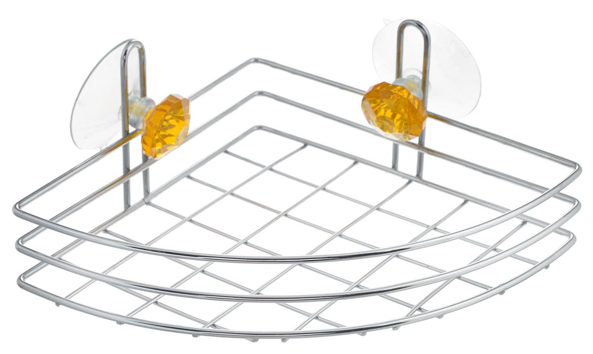 Полка для ванной Top Star Kristall, угловая, одноярусная, на присосках, цвет: желтый, стальной, 24 х 18 х 8,5 см280883_желтыйОдноярусная полка для ванной Top Star Kristall изготовлена из хромированной стали, которая надолго защитит изделие от ржавчины в условиях высокой влажности в ванной комнате. Изделие декорировано двумя кристаллами и имеет угловую конструкцию. Крепится полка при помощи двух присосок. Для надежности крепления присосок, необходимо устанавливать на гладкой, воздухонепроницаемой, очищенной и обезжиренной поверхности. Данное изделие изящно дополнит интерьер вашей ванной комнаты. Размер полки: 24 х 18 х 8,5 см.