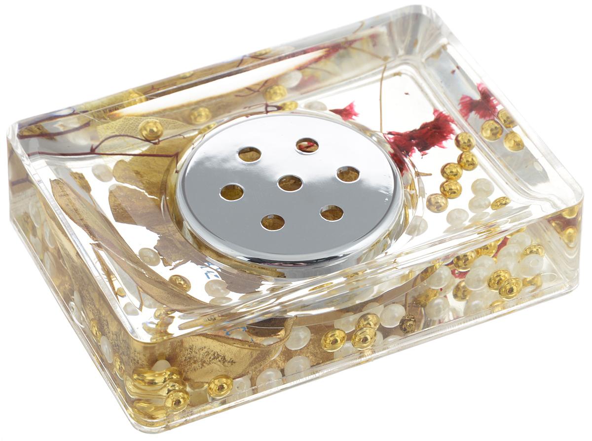 Мыльница Vanstore Gold Leaf, цвет: золотистый, 14 х 9,5 х 3,5 см887-88_золотистыйОригинальная мыльница Vanstore Gold Leaf, изготовленная из прозрачного пластика, отлично подойдет для вашей ванной комнаты. Внутри мыльницы гелиевый наполнитель с золотистыми и белыми бусинами, листочками и веточками. Такая мыльница создаст особую атмосферу уюта и максимального комфорта в ванной. Размер мыльницы: 14 х 9,5 х 3,5 см.