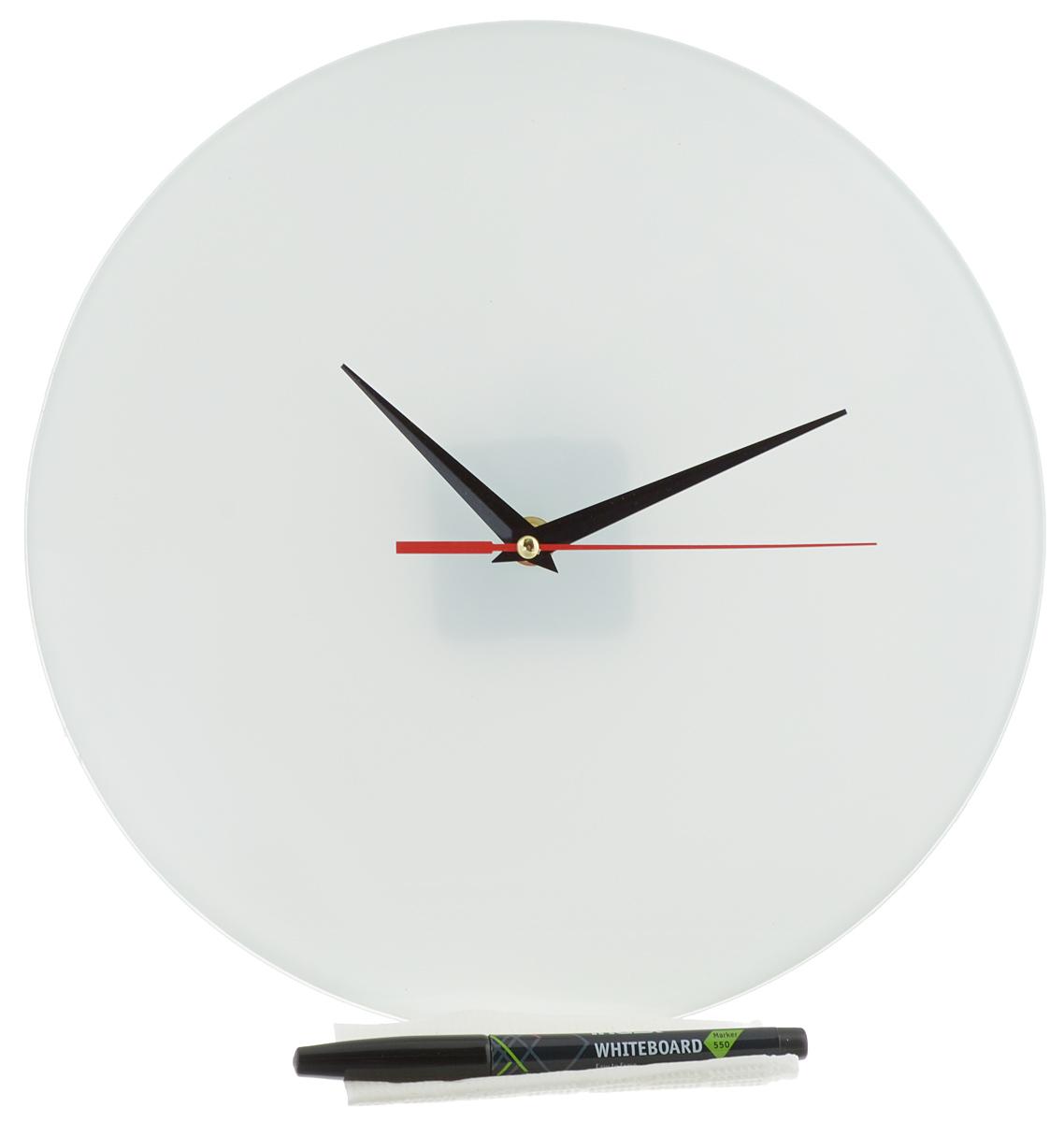 Часы настенные Эврика Нарисуй сам, стеклянные, цвет: белый, диаметр 28 см93382_стекло/маркерНастенные часы Нарисуй сам своим необычным дизайном подчеркнут стильность и оригинальность интерьера вашего дома. Циферблат часов выполнен из стекла белого цвета. В комплекте черный маркер с салфеткой, с помощью которых вы сможете сами создать дизайн ваших часов. Часы имеют три стрелки - часовую, минутную и секундную. На задней стенке часов расположена металлическая петелька для подвешивания. Часы работают от одной батарейки типа АА. Диаметр часов: 28 см. Такие часы послужат отличным подарком для ценителя ярких и необычных вещей. Батарейка в комплект не входит.