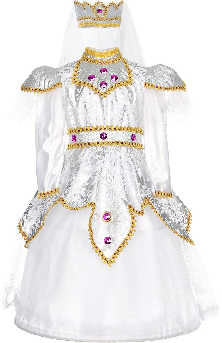 Rio Карнавальный костюм Царевна цвет белый розовый размер 116-122105010_белый розовые камниЯркий детский карнавальный костюм Принцесса позволит вашей малышке быть самой красивой девочкой на детском утреннике, бале-маскараде или карнавале. Костюм состоит из шикарного платья с поясом и головного убора с фатой. Шикарное платье смотрится великолепно благодаря серебристому рисунку и пышному подолу. Для пышности подола, в наборе имеются специальные обручи и дополнительная нижняя юбка. Платье декорировано яркой тесьмой и крупными пластиковыми элементами в виде драгоценных камней. Платье и пояс застегиваются на пуговки. Головной убор в виде мягкой короны дополнен длинной белой фатой. Такой карнавальный костюм привлечет внимание друзей вашей малышки и подчеркнет её индивидуальность. Веселое настроение и масса положительных эмоций будут обеспечены! Ткань: 60% полиэстер, 30% полиамид. Костюм рассчитан на рост ребенка 122 см.