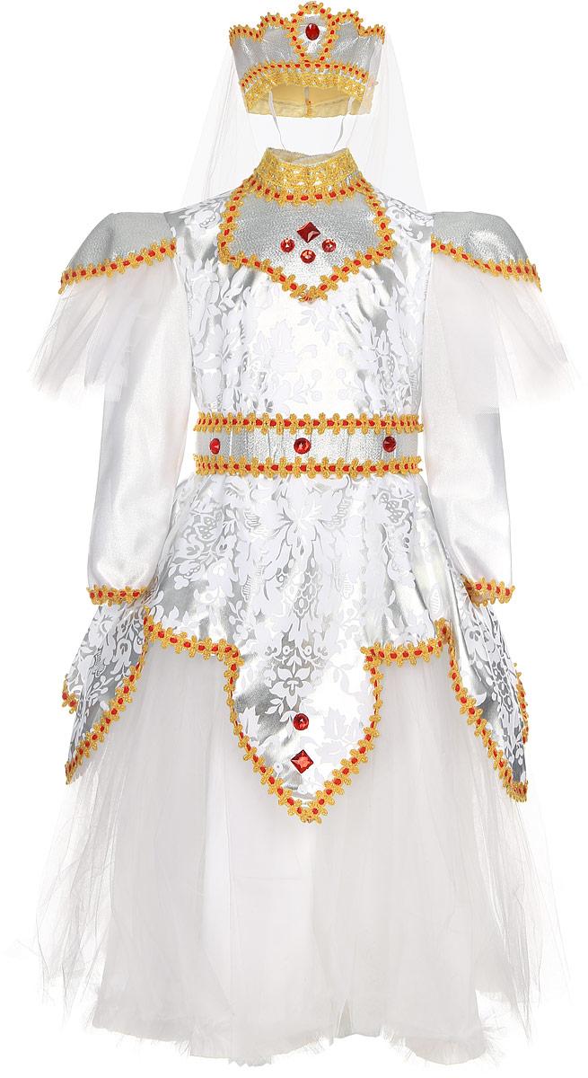 Rio Карнавальный костюм Царевна цвет белый красный размер 116-122105010_белый красные камниЯркий детский карнавальный костюм Принцесса позволит вашей малышке быть самой красивой девочкой на детском утреннике, бале-маскараде или карнавале. Костюм состоит из шикарного платья с поясом и головного убора с фатой. Шикарное платье смотрится великолепно благодаря серебристому рисунку и пышному подолу. Платье декорировано яркой тесьмой и крупными пластиковыми элементами в виде драгоценных камней. Платье и пояс застегиваются на пуговки. Головной убор в виде мягкой короны дополнен длинной белой фатой. Такой карнавальный костюм привлечет внимание друзей вашей малышки и подчеркнет её индивидуальность. Веселое настроение и масса положительных эмоций будут обеспечены! Ткань: 60% полиэстер, 30% полиамид. Костюм рассчитан на рост ребенка 116-122 см.