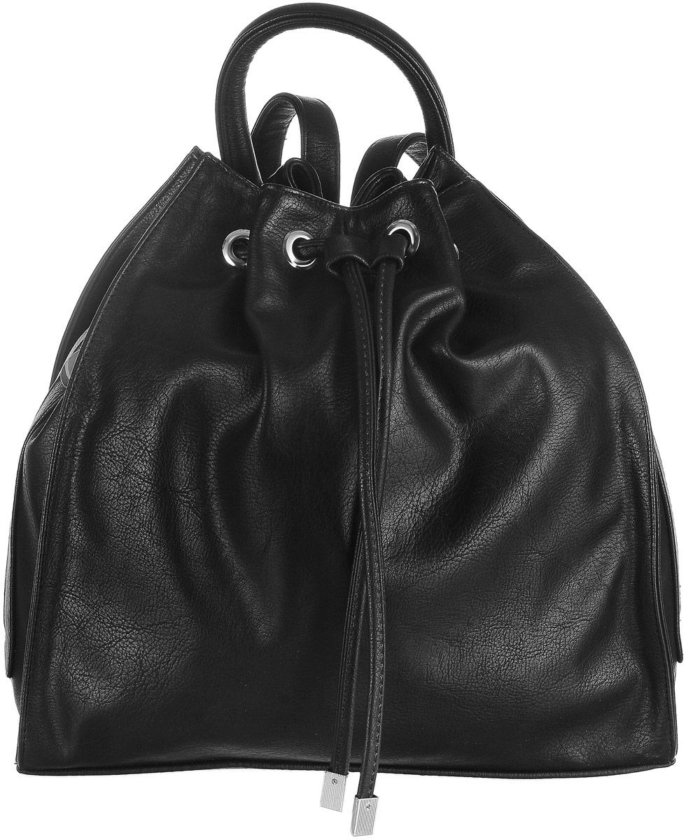 Рюкзак женский Аntan, цвет: черный. 8924650065019965Стильный рюкзак Аntan выполнен из высококачественной искусственной кожи. Изделие оснащено боковыми вертикальными карманами, которые закрываются на застежки-молнии. Рюкзак оснащен петлей для подвешивания и удобными лямками, длину которых можно регулировать с помощью пряжек. Изделие закрывается с помощью затягивающегося шнурка и з искусственной кожи. Внутри расположено главное вместительное отделение, которое содержит два открытых накладных кармана для телефона и мелочей и один вшитый карман на молнии.