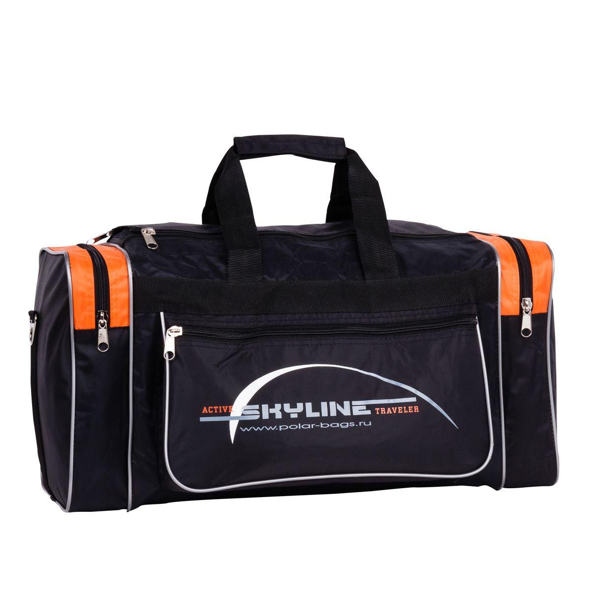 Сумка спортивная Polar, цвет: черный, оранжевый, 30,5 л. 60076007_черный, оранжевыйСпортивная сумка Polar. Одно основное отделение. Карман на молнии по бокам сумки. Прорезной карман на молнии спереди сумки. Имеется плечевой ремень.
